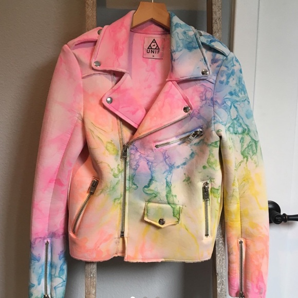 UNIF Moto Pastel Tie-Dye Jacket, M